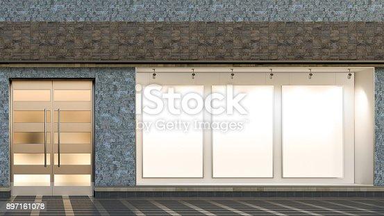 istock Empty store window 897161078