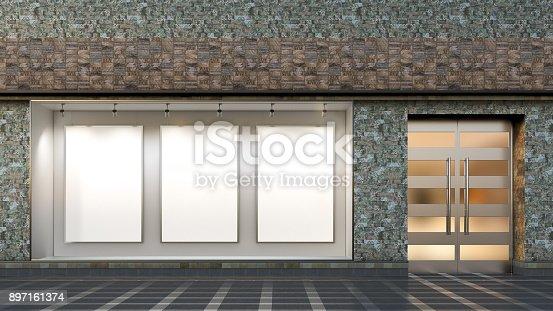 istock Empty store window 897161374