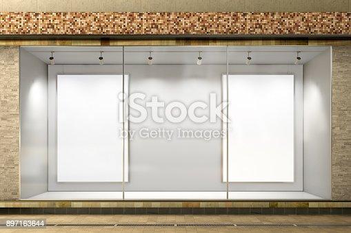 istock Empty store window 897163644