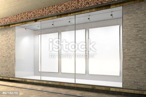 istock Empty store window 897163702