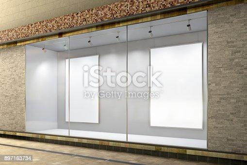 istock Empty store window 897163734