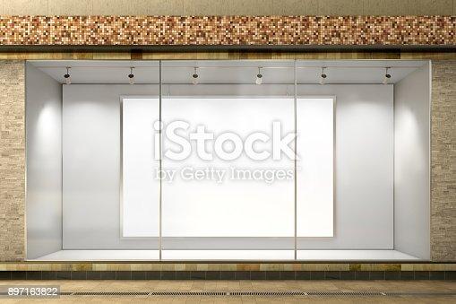istock Empty store window 897163822