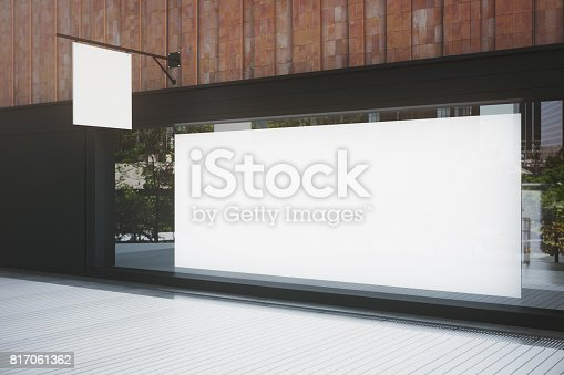 istock Empty storefront with billboard 817061362