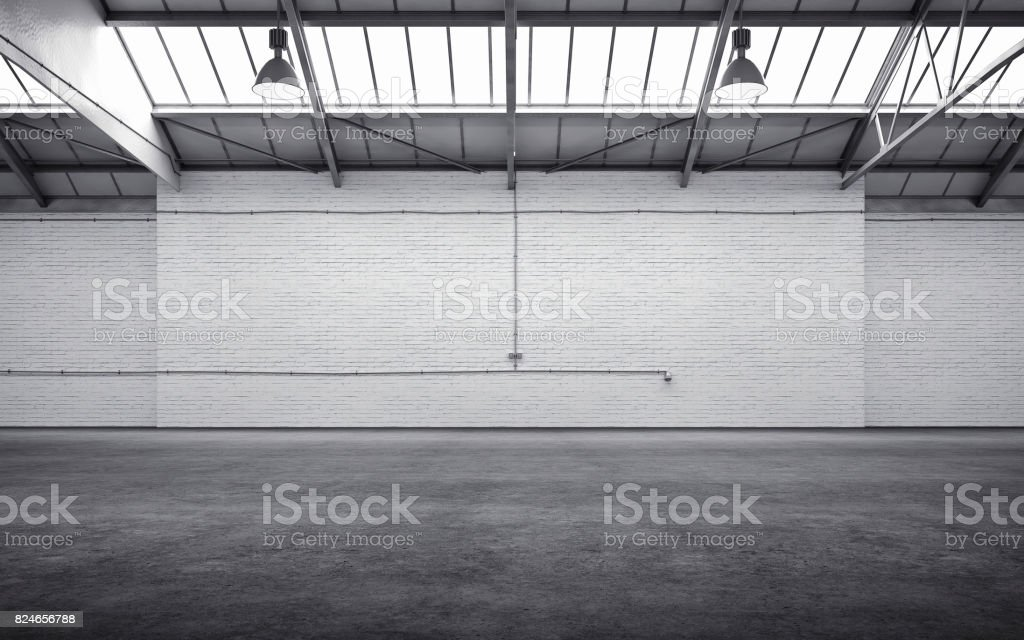 Empty storehouse interior stock photo