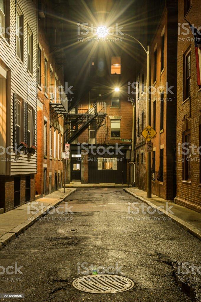 Empty Street at Night in Boston stock photo