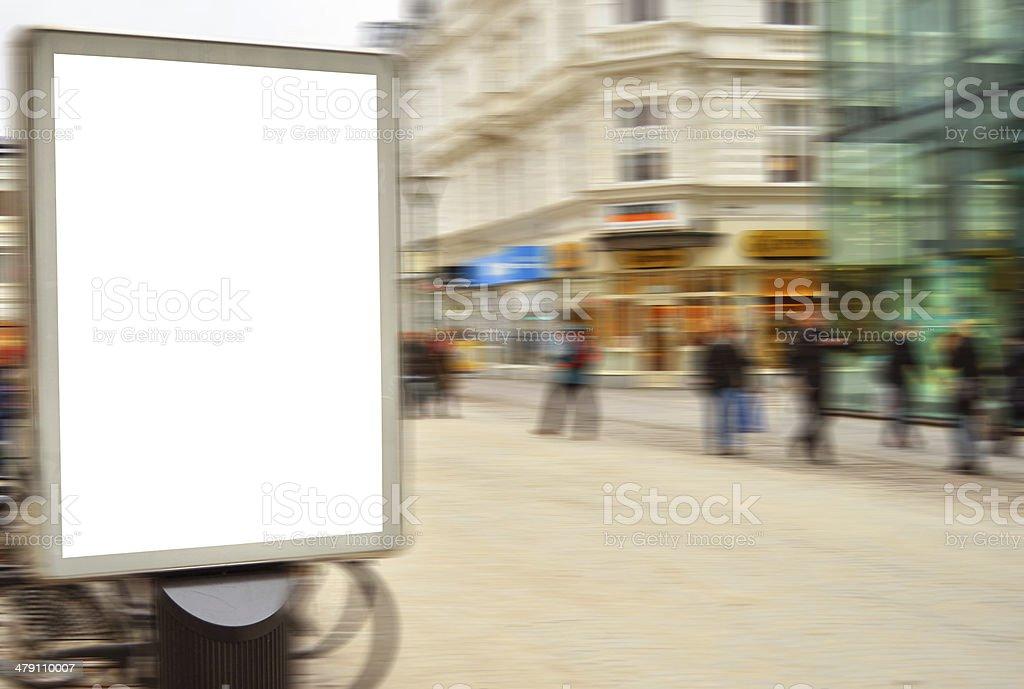Empty street billboard in motion blur stock photo