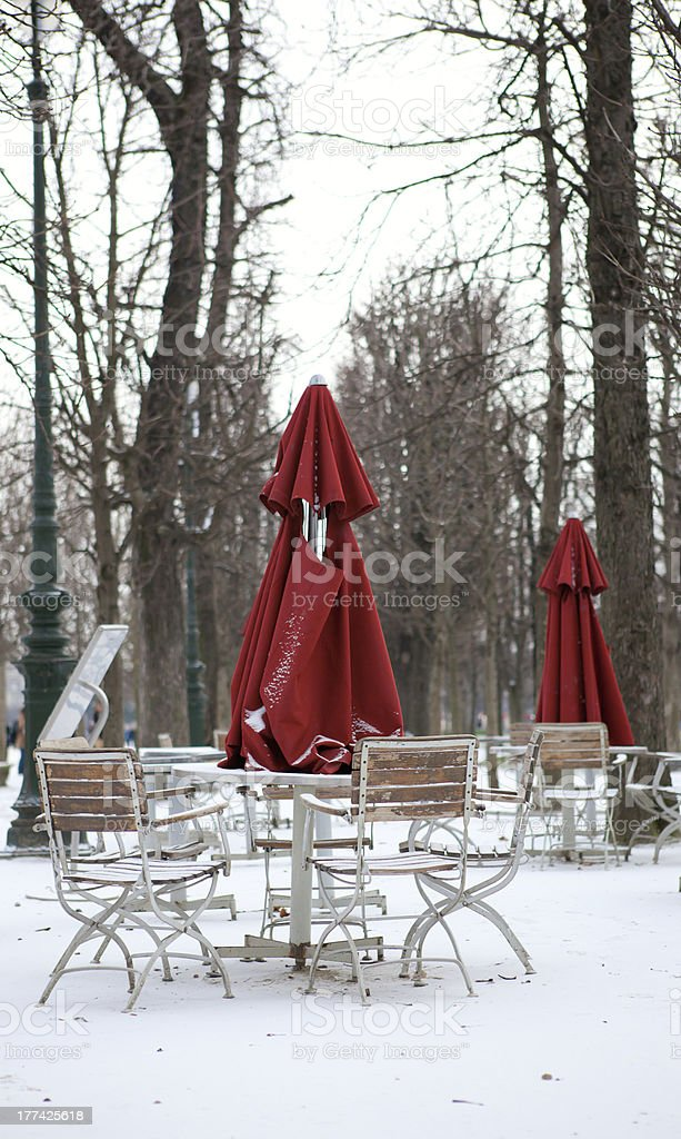 Empty street cafe in Paris at winter royalty-free stock photo
