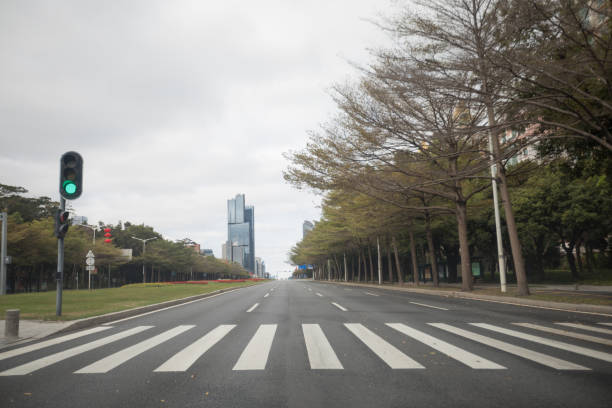 Empty street during the outbreak of Novel Coronavirus in Shenzhen city,China stock photo