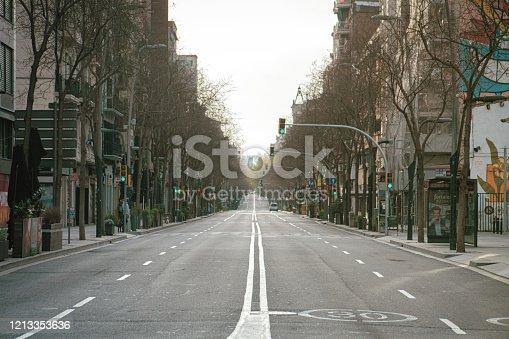 istock Empty street in Barcelona 1213353636