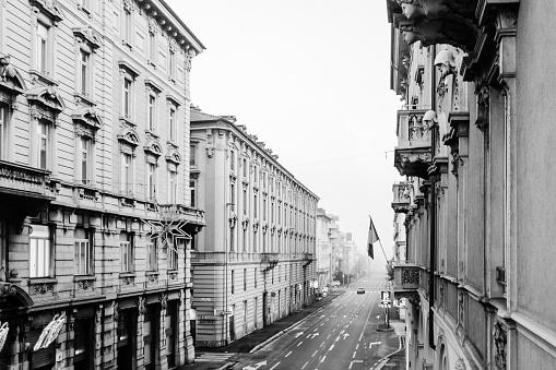 Empty street in Bergamo Italy black and white