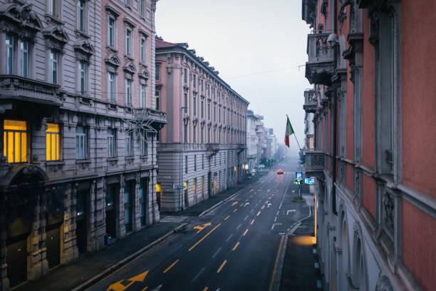 Empty street in Bergamo Italy Empty street in Bergamo Italy lockdown stock pictures, royalty-free photos & images
