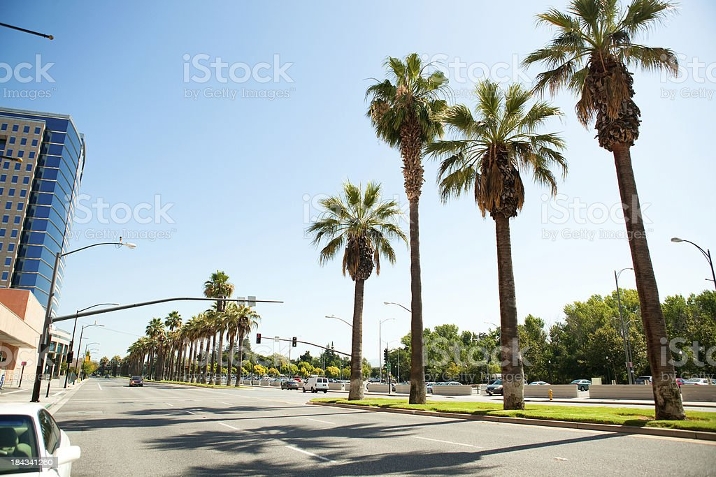 Empty street in downtown San Jose Califonria stock photo