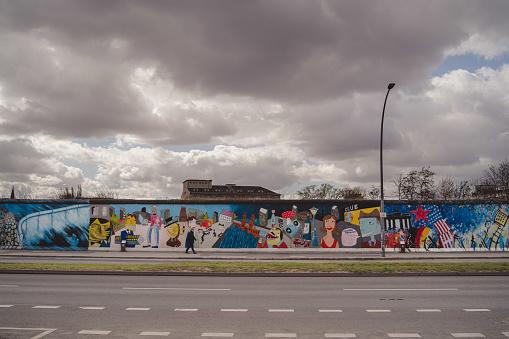 Empty street in front of Berlin Wall while corona lockdown