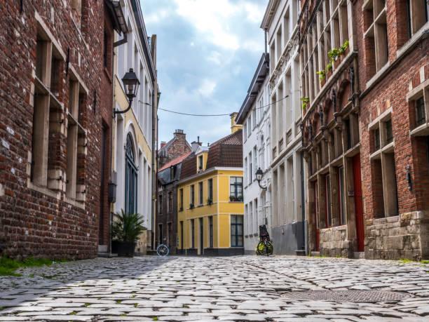 Empty Street in Gent, Belgium stock photo