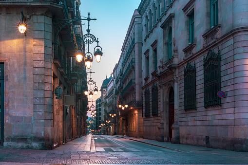 Empty street in Gothic Quarter, Barcelona