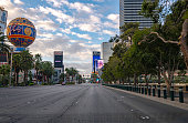 Las Vegas, Nevada, USA - March 20, 2020: Empty street in Las Vegas under Coronavirus outbreak. All hotels and casinos are ordered to close until end of April 2020. It is first time in Las Vegas history with empty street like this. This street is always filled with tourists from all over the world.