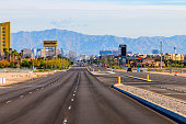 Las Vegas, Nevada, USA - April 19, 2020: Empty street in Las Vegas under Coronavirus outbreak. All hotels and casinos are ordered to close until end of April 2020. It is first time in Las Vegas history with empty street like this. This street is always filled with tourists from all over the world.