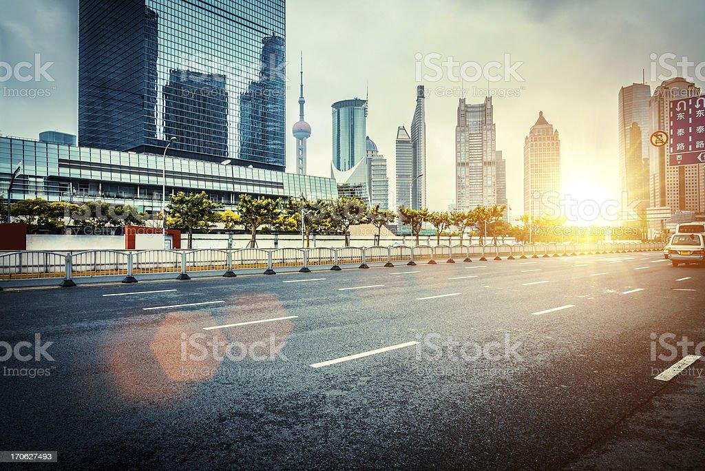 empty street in modern urban stock photo