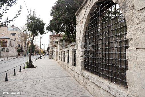 istock Empty street in oldtown of Istanbul city during Coronavirus Pandemic 1292644140