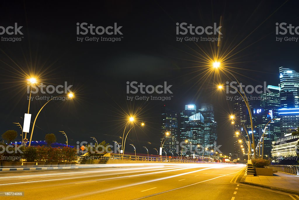 empty street in singapore royalty-free stock photo