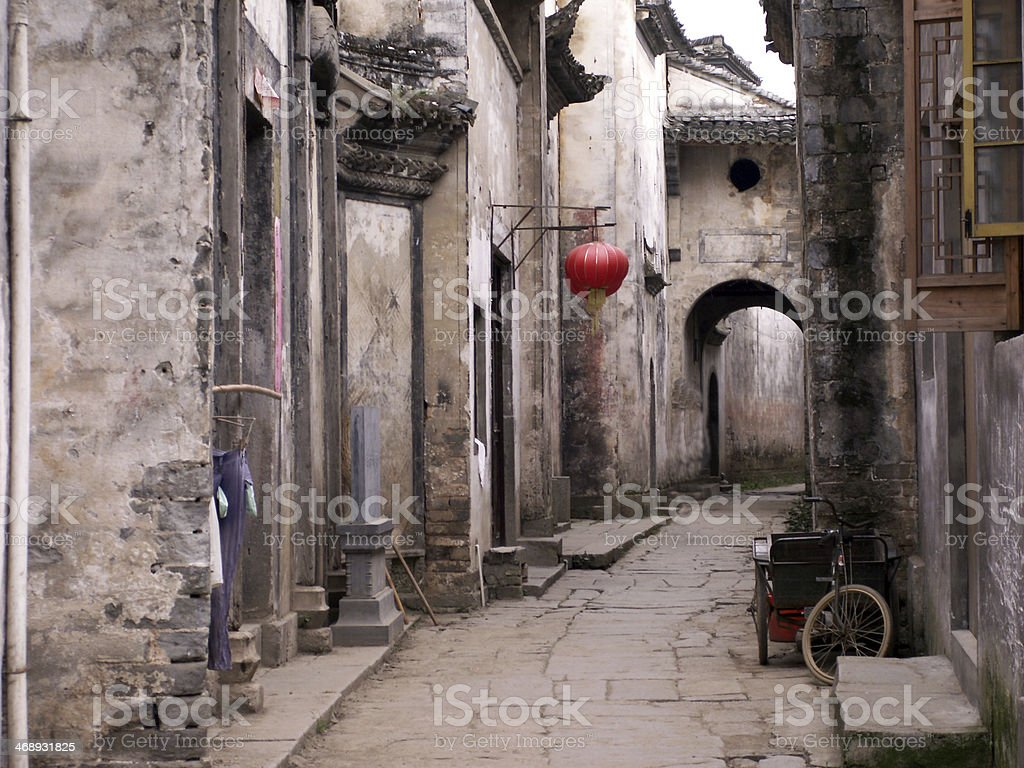Empty street of ancient town in Anhui province, China stock photo