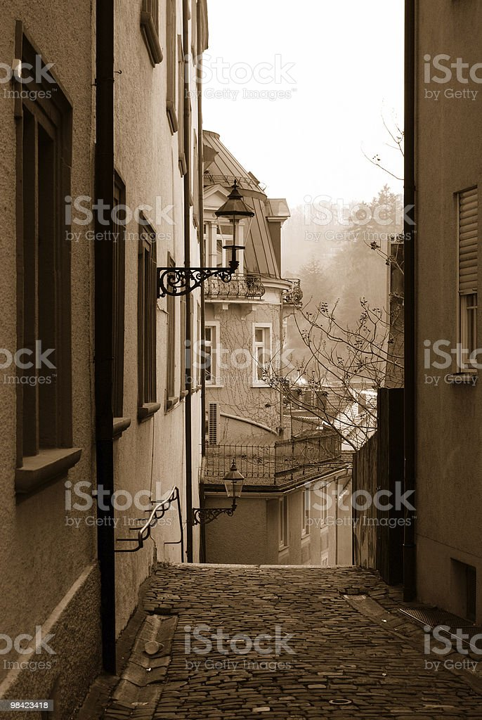 Empty street of Baden-Baden in sepia color royalty-free stock photo
