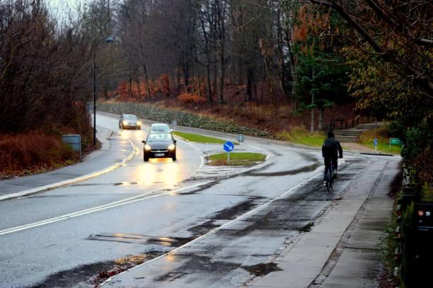 Empty street on a rainy day stock photo
