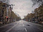 Barcelona, Spain - March 16, 2020: Empty street of Barcelona, Passeig de Gràcia in March 2020