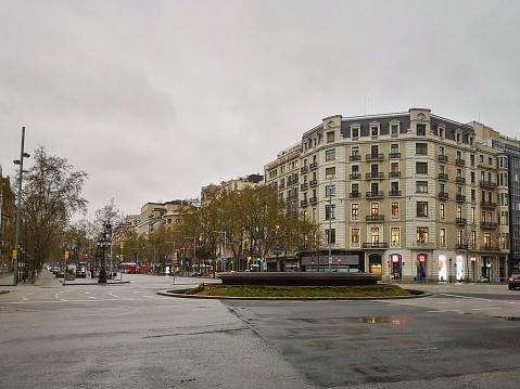 Empty Street Passeig De Gracia In Barcelona Spain Stock Photo - Download Image Now