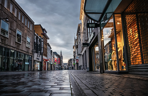 Breda, The Netherlands - March 17, 2020:  view of empty street in city center due to coronavirus outbreak.