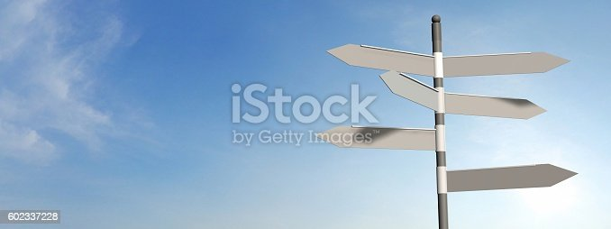 istock empty street sign with sky background 602337228