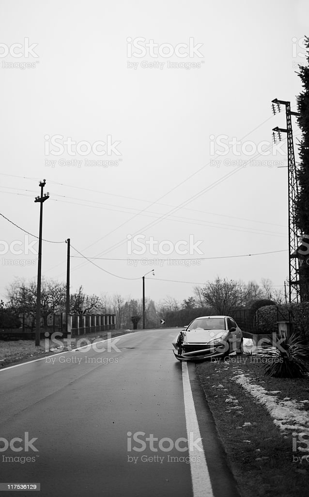 Empty Street with Car Crash. Color Image royalty-free stock photo