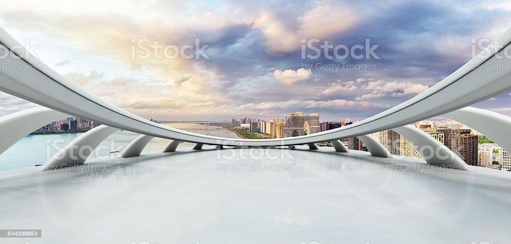 empty street with cityscape and skyline of hangzhou riverside ne stock photo
