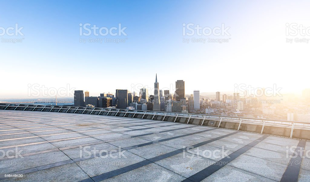 empty street with cityscape and skyline of san francisco sunrise stock photo