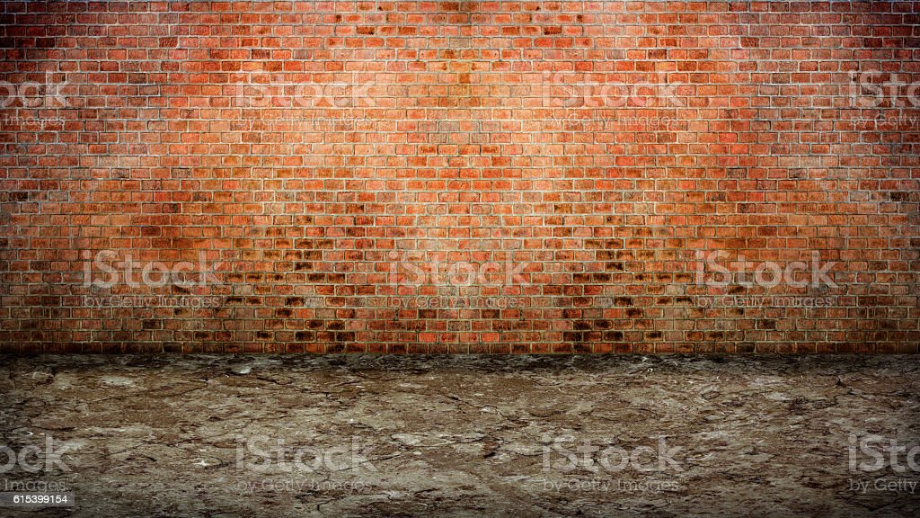 Empty street with old brick wall. stock photo