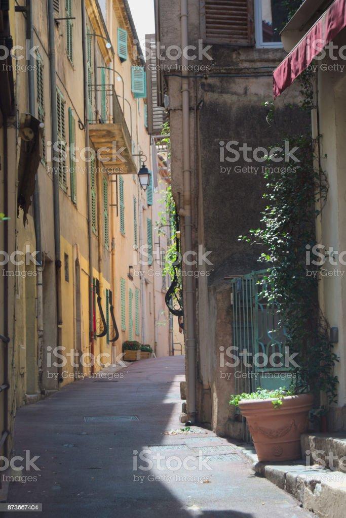 Empty street with shade stock photo