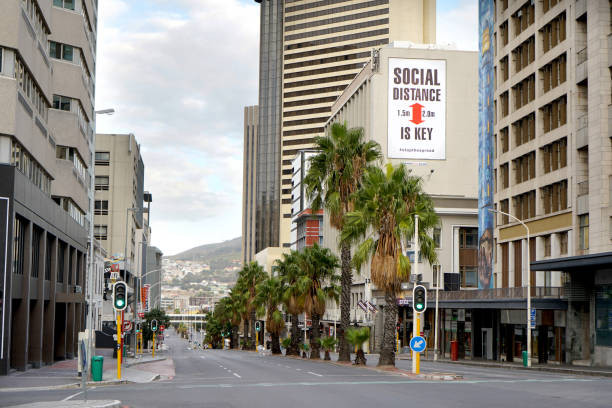 Empty streets and a stay home sign in Cape Town during the Coronavirus lockdown stock photo