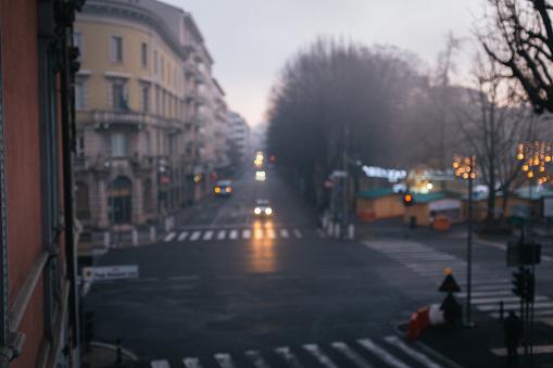 Empty streets in Bergamo Italy
