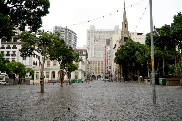 Empty streets in te normally bustling Greenmarket Square in Cape town, South Africa during the lock down. stock photo