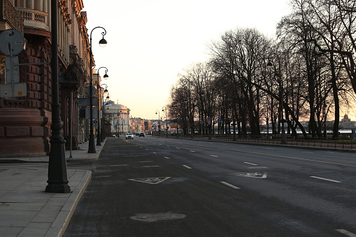 Empty streets in the centre of the city