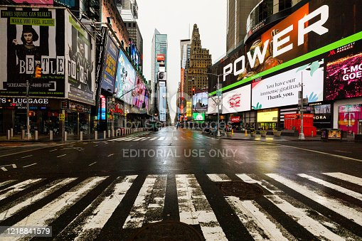 New York City during global pandemic, Covid-19.  Completely deserted city.