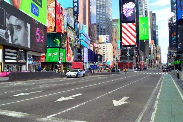 Empty Streets in Times Square stock photo