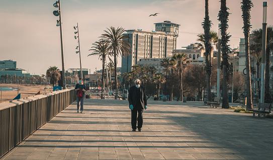 Empty streets of Barcelona during corona virus lockdown