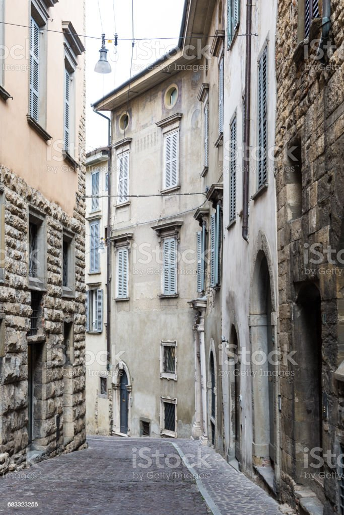 Empty streets of Cita Alta royalty-free stock photo