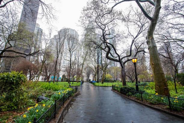 Empty streets of New York City during Coronavirus quarantine stock photo