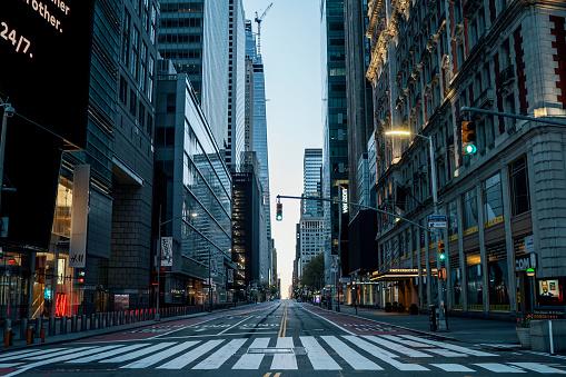 NEW YORK CITY, MANHATTAN - MAY 02, 2020: Empty streets of New York during Corona Virus Epidemic