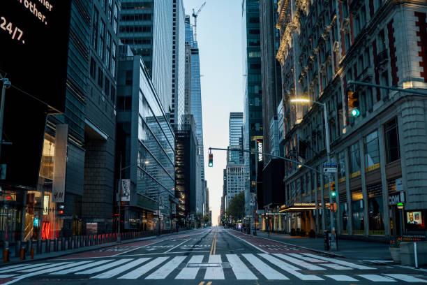 NEW YORK CITY, MANHATTAN - MAY 02, 2020: Empty streets of New York during Corona Virus Epidemic stock photo