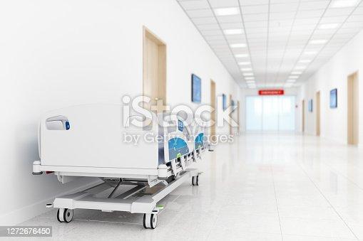 Empty Stretcher In Hospital Corridor