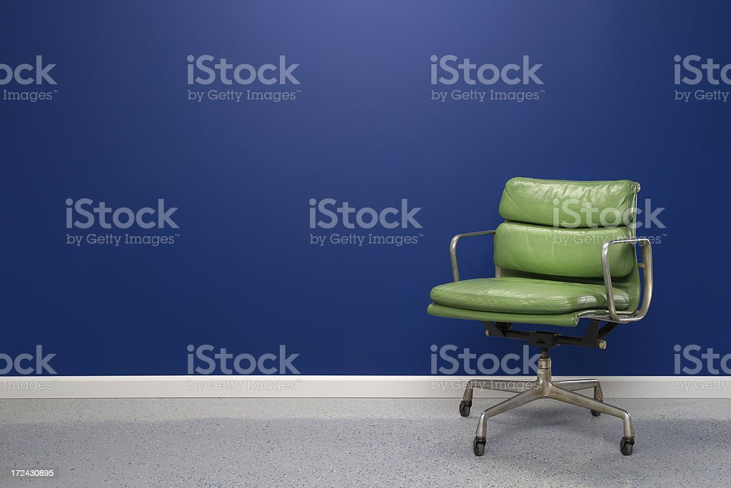 Empty Studio With Green Chair royalty-free stock photo