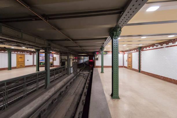 Empty subway station in Budapest, Hungary stock photo